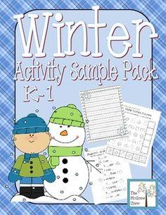 FREE! Winter Activity Set Sampler for K-1!