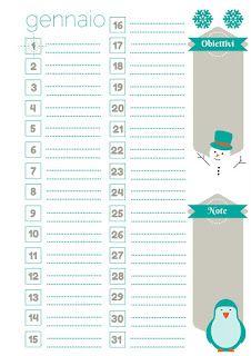 refill gratuiti per l'agenda: planner mensile di gennaio perpetuo