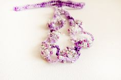 Purple white silver beaded crochet hairband by Mashacrochet
