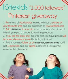 """Hi! Join lötiekids """"1.000 followers Giveaway"""" and get what you like the most from our collection. Follow us at facebook.com/lotiekids and get an extra item if you are the lucky one! Thanks for joining!"""