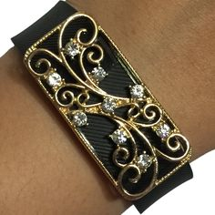 Fitbit Charge/ Fitbit Charge HR Jewelry to Accessorize Your Fitness Tracker - Intricate Embellished Rhinestone Studded Gold SAVANNAH Charm Bracelet Accessory. This beautiful charm is handmade to order. It is designed to be snugly secured against your fitness tracker to amplify your look! Instead of wearing a sporty and bare plastic Fitbit Charge, Fitbit Charge HR, Fitbit Alta or Fitbit Flex band, add to your unique style with the bracelets of Weekend Wearables. To Use: Effortlessly slide...