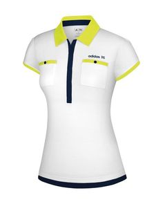 Womens FP Short-Sleeved White-Based Pocket Polo Polo Design, Womens Golf Shirts, Polo Match, Adidas Golf, Women's Fashion, Fashion Outfits, Polo T Shirts, Bold Colors, Corporate Identity