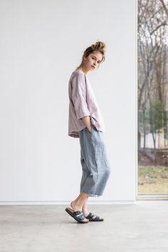 Light elephant grey loose linen pants with deep pockets / japanese style linen…