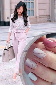 The Best Business Casual Nails To Complete Your Work Look: Nails Colors For Pastel Shades Of Clothes #businesscasual; #manicure; #nails; #nailart