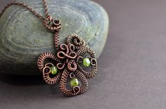 Wire wrapped pendant Celtic wire weave copper wire necklace peridot gemstone copper jewelry Irish St Patrick lucky clover Spring green olive