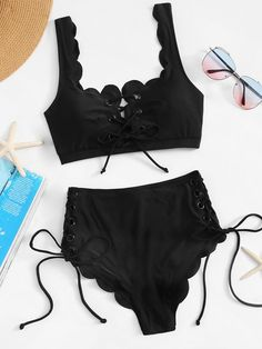 237e819431889 Shop Scallop Lace-up Front Top With High-waist Bikini online. SHEIN offers  Scallop Lace-up Front Top With High-waist Bikini   more to fit your  fashionable ...