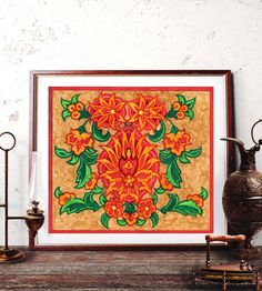 Ottoman Floral Motif Wall Art Traditional Turkish by HermesArts