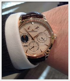 Jaeger LeCoultre Master Eight Days Perpetual Calendar in 18ct Rose Gold on a brown alligator strap.
