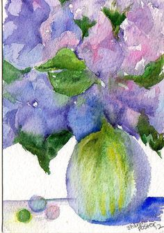 Hydrangeas: Sharon Foster (Watercolor)