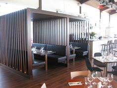 The Boatshed at the Regatta features booth seating by Eurofurn.