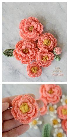 Peony Flower Free Crochet Patterns Crochet Flower Scarf, Crochet Flower Tutorial, Crochet Flower Patterns, Easy Crochet, Crochet Flowers, Crochet Hooks, Crochet Ideas, Flower Bag, Peony Flower