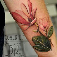Wrist cover-up, still needs a little more work! #botanicaltattoos #coveruptattoo…