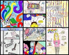"""Finished!! These """"About Me"""" drawings were made by students in periods 1 & 2 Applied Art. They had seven items to include such as favorite art material what inspires you and how art makes you feel. In this collage are works by Erma A. Jimmy B. Daniel B. Wynston L. Grace H. Helena F. Reece B. and Delainie I.  #gbmsart #OakPark97 #ArtEd"""