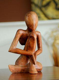 Dark Wooden Statue - Day Dream - 20 Cm | Fair Trade Gift Store | Siiren