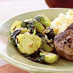 Caramelized Shallots and Brussels Sprouts with Pancetta | MyRecipes.com: October