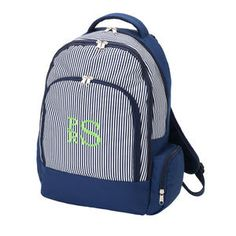 Boy's Monogram Backpack, Navy Stripes Backpack, Personalized Knapsack, Back to School, Initials Bag