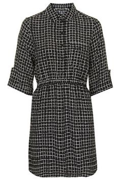 Grid Print Shirt Dress