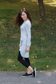 Ten ways to style a Grey Draped Dress - code: cominguproses for 15% off! Featuring @keds1916 #kedsstyle