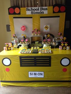The wheels on the bus birthday party dessert table setup School Bus Cake, School Bus Party, Back To School Party, School Parties, Birthday Party Desserts, 2nd Birthday Party Themes, Boy Birthday, Birthday Ideas, Wheels On The Bus