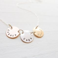 Mixed Metal Mom Necklace - Personalized Jewelry