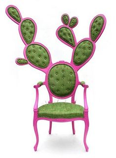 Mexican designer Valentina Gonzalez Wohlers has cleverly and humorously transformed the classic French Louis XV oval chair into the shape of a Nopal cactus.