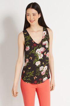 Rose Print V Front V Back Vest | Multi | Oasis Stores
