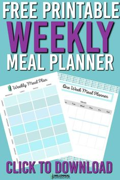 This free weekly meal planner printable is an easy way to plan your weekly meals and get your week ready. Get these cute weekly meal planners. Weekly Meals, Weekly Meal Planner, Printable Day Planner, Easy Meal Plans, Menu Planning, Ways To Save Money, Meals For The Week, Frugal Living, Productivity