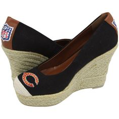 Cuce Shoes Chicago Bears Women's The Groupie Espadrille Wedge Sandals - Black - $32.99