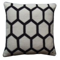 This geometric cushion has been created using a grid of hand embroidered hexagon patches that are loosely inspired by the fabulous organic and iconic Selfridges building in Birmingham. This shape is a classic in the patchwork world and here it has translated into a modern classic of our time.