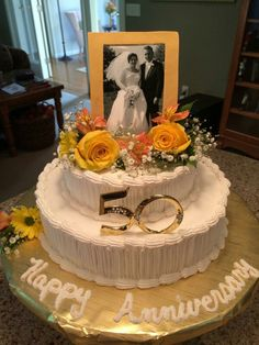 50th anniversary cake with photo and fresh flowers!