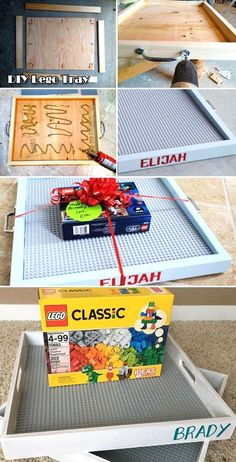 Build portable Lego tray with a plywood board four wood strips a standard Lego baseplate and other simple tools. Build portable Lego tray with a plywood board four wood strips a standard Lego baseplate and other simple tools. Diy Kids Room, Diy For Kids, Lego Tray, Diy Lego Table, Pot Mason Diy, Diy Cadeau Noel, Navidad Diy, 242, Craft Gifts