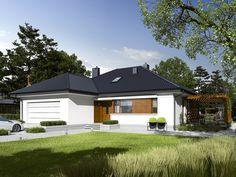 DOM.PL™ - Projekt domu AC Astrid G2 CE - DOM AF7-97 - gotowy projekt domu My Home Design, House Design, Bungalow House Plans, Design Case, Prefab, Pergola, Gazebo, Exterior Design, Garage Doors