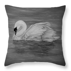 Swan Throw Pillow featuring the drawing Lone Swan by Faye Anastasopoulou