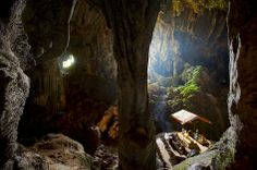 Tham Phu Kham (or Blue Lagoon) is a cave located to the northwest of Vang Vieng, Laos.  Even though Buddhism is not the main religion of Loas, it has coexisted peacefully since its introduction to the country with the local polytheism and many templs were built in the country.