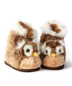 Brown Owl Plush Slipper