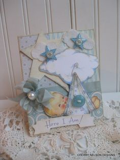 new baby card-BABY BOY card- baby announcement card- baby congrats handmade card. $8.75, via Etsy.