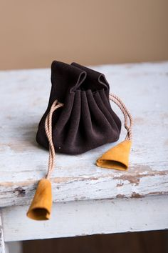 Small Leather Medicine Pouch, Leather Sack, Pull String Bag, Brown Leather Sachet, Made to Order. $25.00, via Etsy.