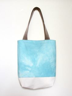Hand Dyed Tote Bag  Aqua Blue Tie Dye with Organic Natural by besu, $36.00