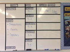 Classroom display with objective, agenda, week overview, a 5th Grade Classroom, Middle School Classroom, Middle School Science, Science Classroom, High School, Classroom Organization, Classroom Management, Classroom Ideas, Class Management