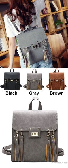 Which color do you like? Retro Frosted Tassels Flap Multifunction Shoulder Bag Fashion Square PU Street Style Backpack #backpack #Bag #retro #school #tassel #fashion