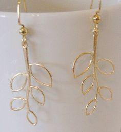 Beautiful Gold Tone Leaf Branch Hook Pierced Earrings