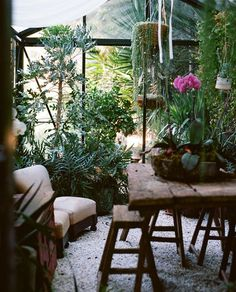 Garden Room: image By Brian Ferry     THE NYT BOOK OF INTERIOR DESIGN AND DECORATION ©1976      Greenhouse with wicker chairs     Spring i...