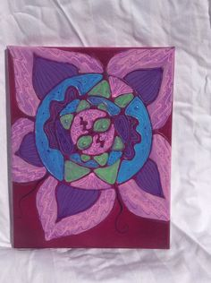 "Flower  8x10"" Acrylic and glue on canvas"