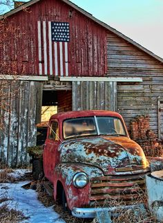 Old rusty #trucks, old #barns and Red, White & Blue….is cool…                                                                                                                                                                                 More