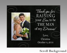 Personalized parent wedding picture frame, thank you for raising your son