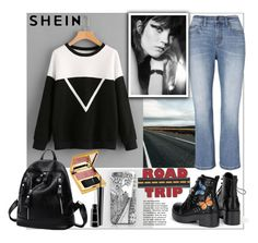 """""""Shein.Woven Tape Detail Two Tone Pullover"""" by natalyapril1976 ❤ liked on Polyvore featuring Banana Republic and MAC Cosmetics"""