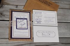 Burlap and Lace Invitations by blueenvelope on Etsy, $5.75