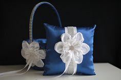 Blue Ring Bearer Pillow \ Blue Flower Girl Basket \ Royal Blue Wedding Pillow Basket Set \ Blue White Basket \ Wedding Blue White Bearer