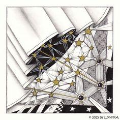 LonettA_Week 52_2015_Radiate....Week 52 (Part of my Tangle-Diary; Patterns: Radiate, Arukas, Ruflz, Quiltz, Knightbridge; 12 x 12 cm; 2015)
