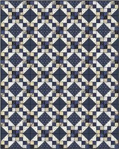 Flying Geese Quilt in the Indigo Crossing collection. | Cotton ... : two fabric quilts - Adamdwight.com